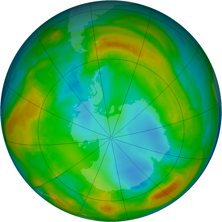 Antarctic ozone map for 01 August 1980
